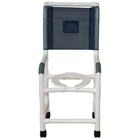 18 pvc shower commode chair high back open front seat