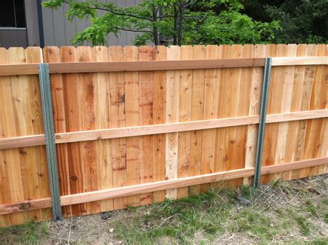 Steel Posts (?postmaster) With Cedar Privacy Fence