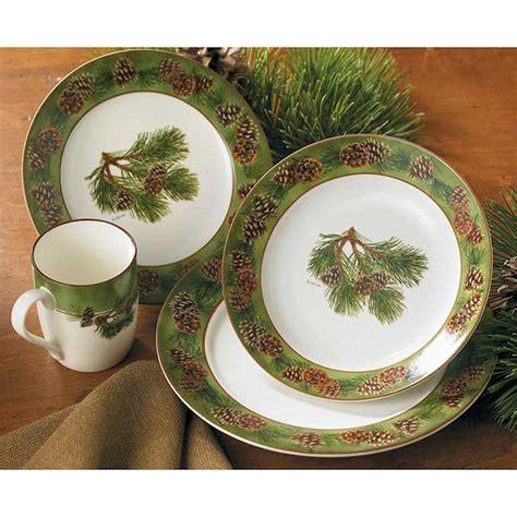 rustic pine dining ceramic pine cone dinnerware