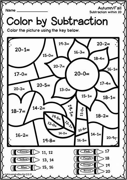 Grade Math Worksheets Subtraction Fall Code Coloring