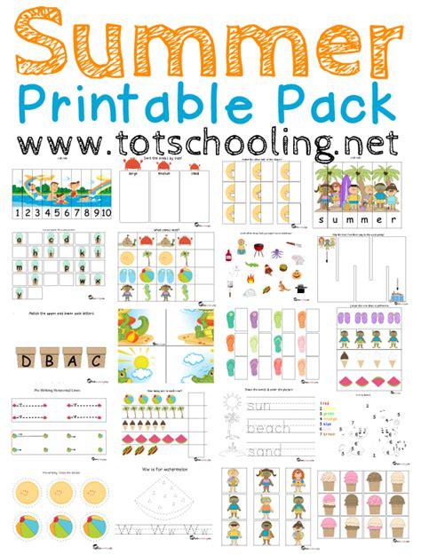 summer printable pack  toddlers prek