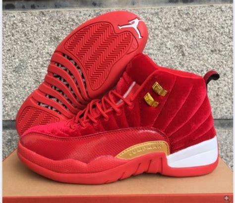 nike air jordan xii  red gold white basketball shoes