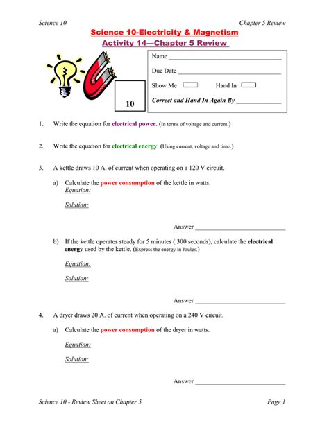 10 science 10 electricity magnetism activity chapter 5 review