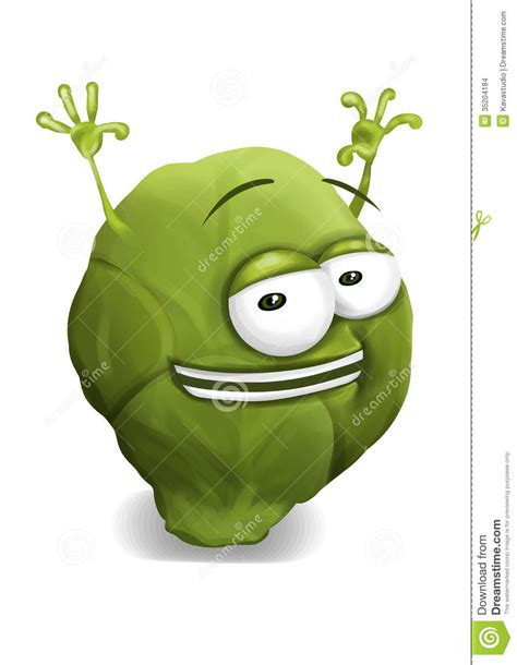 happy brussels sprout cartoon character laughing