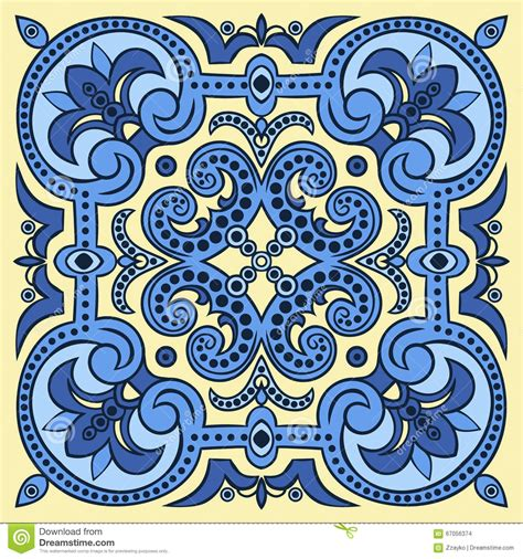 drawing tile pattern in blue and yellow colors