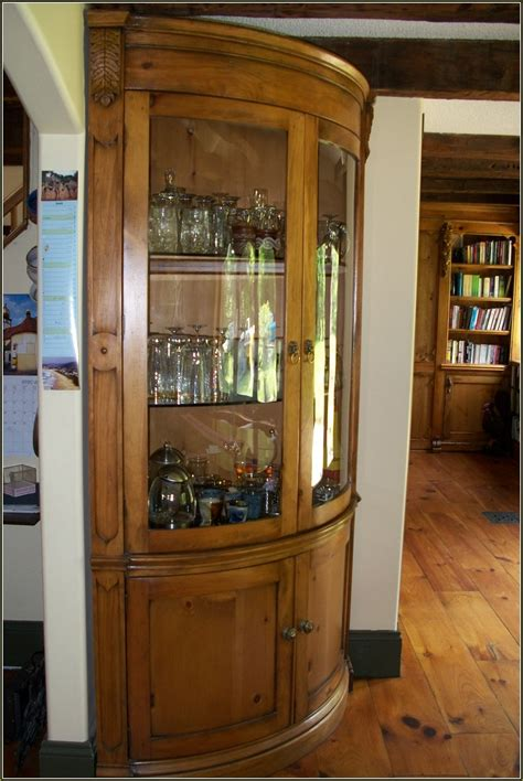 Oak Curio Cabinets With Curved Glass Home Design Ideas