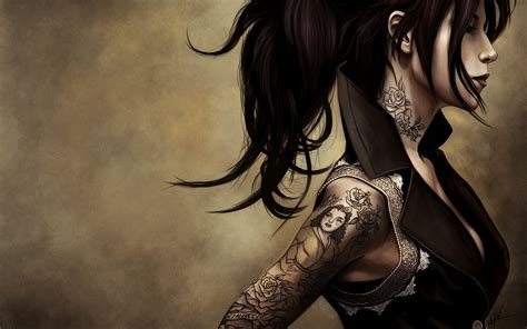 Fantasy Girl With Tattoos Widescreen Wallpaper