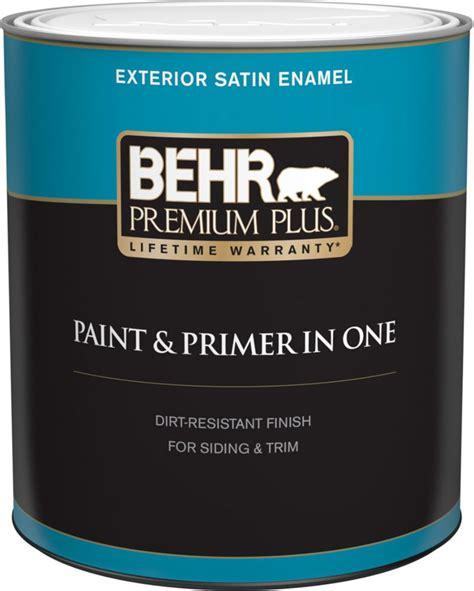 paint with primer behr premium plus exterior paint primer in one satin enamel medium base 946 ml the home