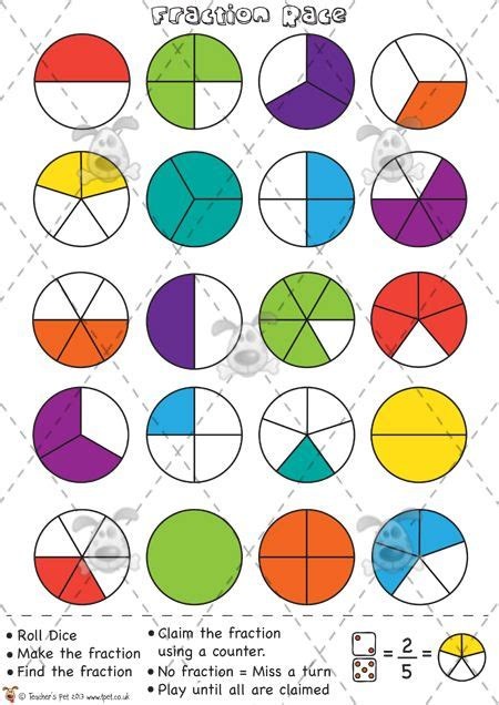 Teachers Pet  Fractions Race (counters)  Premium Printable Game  Activity  Eyfs, Ks1, Ks2
