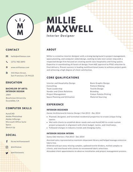 Interior Designer Resume by Pastel Green And Yellow Interior Designer Modern Resume