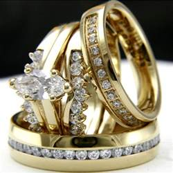 womens engagement rings gold tone 0 9ct cz solitaire engagement 39 s wedding 39 s bridal ring set ebay