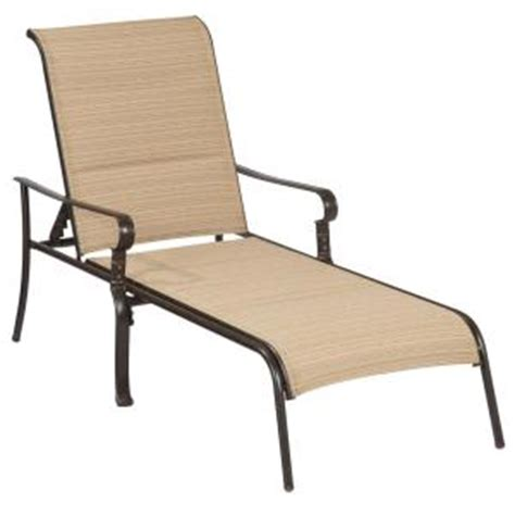 hton bay belleville padded sling outdoor chaise lounge