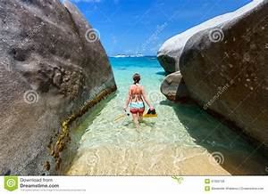 Woman With Snorkeling Equipment At Tropical Beach Stock ...