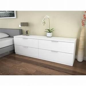 Commode 160 Cm : billund commode 4 tiroirs 160cm blanc achat vente commode pas cher couleur et ~ Teatrodelosmanantiales.com Idées de Décoration