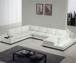 Contemporary white leather sectional sofa with built in for Modern black leather sectional sofa with built in light