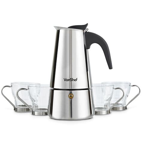 This top stovetop espresso maker comes with 3 stainless steel espresso cups in a pack of 3 bottles. 6 Cup Stovetop Espresso Coffee Maker with 4 Glass Demitasse Cups – Stainless Steel - Walmart ...