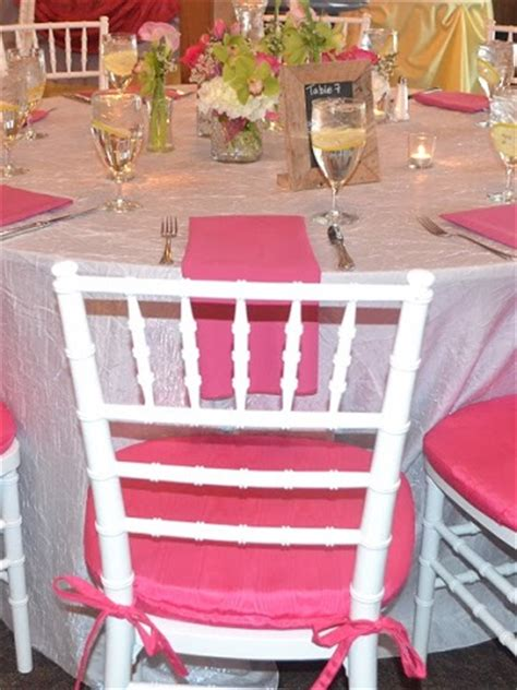 fuchsia bengaline cushions  chiavari chairs  pricing ps event rentals