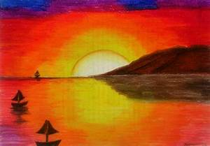 Sunset (Oil Pastel) – Writer's Silhouette