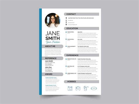 resume template psd   graphicslot