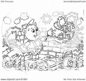 Three Little Pigs and the Big Bad Wolf Coloring Page ...