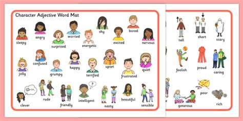 character adjective word mat teaching resource twinkl