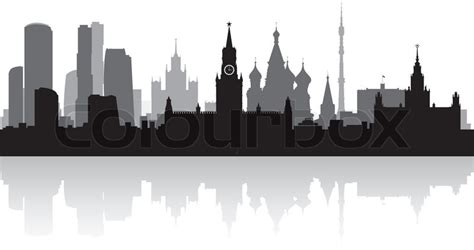 moscow city skyline silhouette vector illustration stock