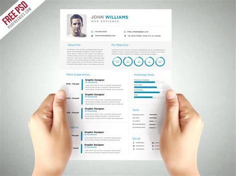 clean and resume template free psd psdfreebies
