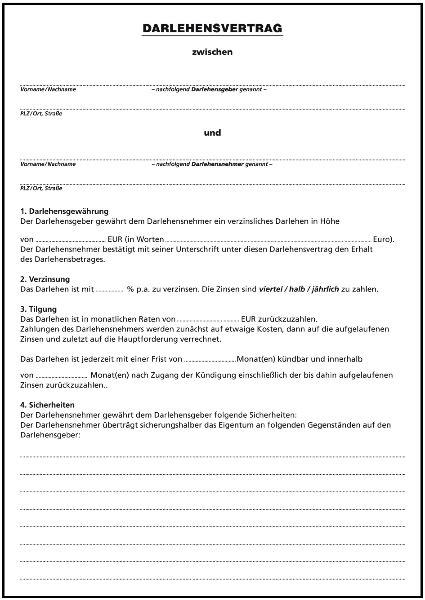 vergebe darlehen privat darlehensvertrag fr privatpersonen ii formulare gratisvorlage privater darlehensvertrag word