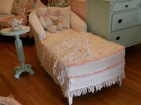 shabby chic lounge furniture shabby chic chaise slipcovered vintage chenille bedspreads and roses fabrics eclectic living