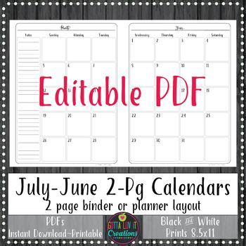 teacher binder pg monthly calendar planner notebook insert