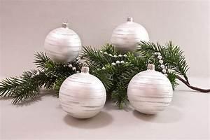 Weihnachtskugeln Weiß Silber : 4 gro e weihnachtskugeln 10cm wei matt iris geringelt christbaumkugeln christbaumschmuck und ~ Sanjose-hotels-ca.com Haus und Dekorationen