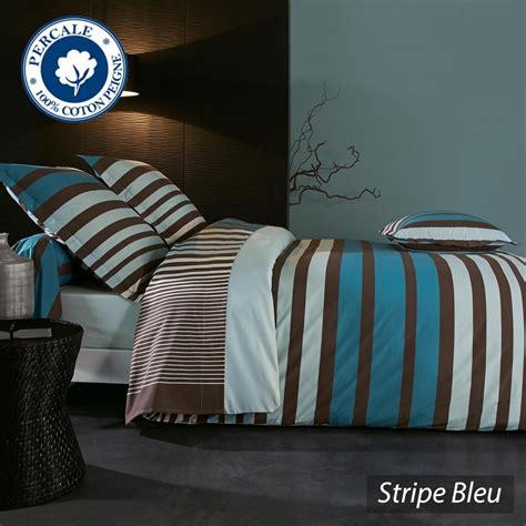 housse de couette percale pur coton peign 233 280x240 cm stripe bleu linnea vente de linge de maison
