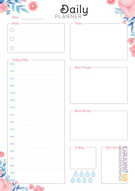 daily planner templates printable