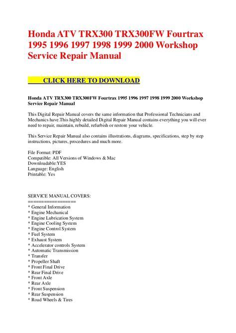 how to download repair manuals 1995 honda del sol on board diagnostic system honda atv trx300 trx300 fw fourtrax 1995 1996 1997 1998 1999 2000 wor