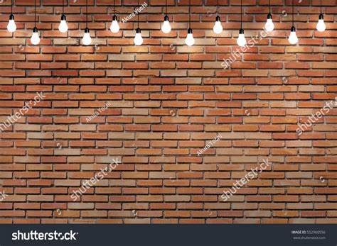 brick wall bulb lights l stock 552960556
