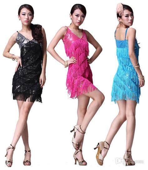 2018 Ladies Night Club Cocktail Party Latin Ballroom Dance Sequin Fringe Dress Costume From ...