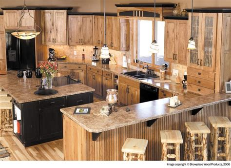 image result for menards hickory cabinets in a kitchen