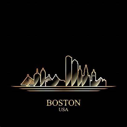 Boston Vector Skyline Silhouette Clip Background Illustrations