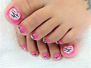 Zebra hot pink nails toe nail designs