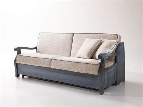 Rustic Sofa Bed, With Wooden Frame, In Provencal Style