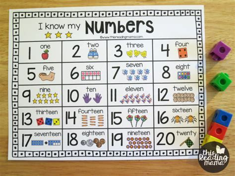 preschool number chart printable number chart for numbers 1 20 charts 866