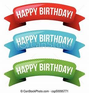 Birthday Postcard Template Happy Birthday Vector Ribbon Set