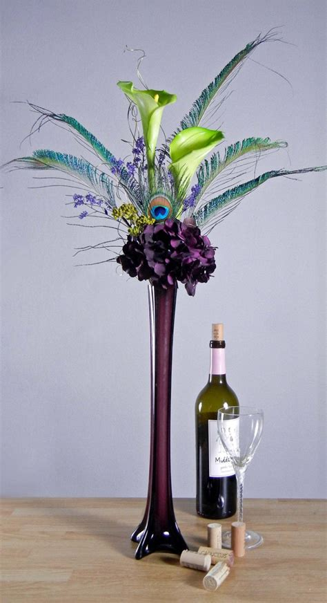 Tall Flower Stands For Centerpieces by Peacock Feathers Green Calla Lilies And Purple By Rachelsheart