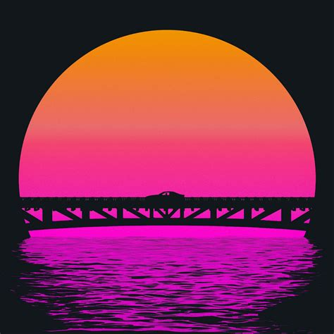 Outrun Style Car Moving On The Bridge, Hd 4k Wallpaper