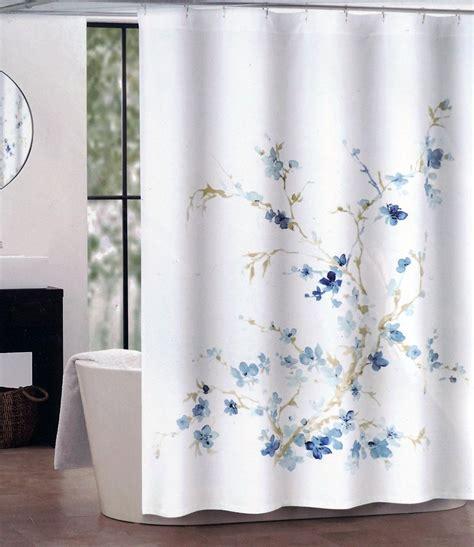 blue shower curtain tahari fabric shower curtain printemps blue beige white