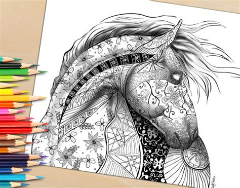 printable adult coloring page  coloring book horse shaded selah works cindys adult