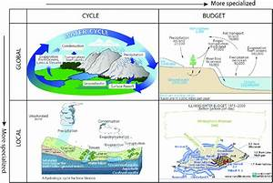 Representative water cycle diagrams in each of four ...
