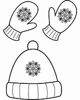 Coloring Hat Winter Popular Mittens sketch template