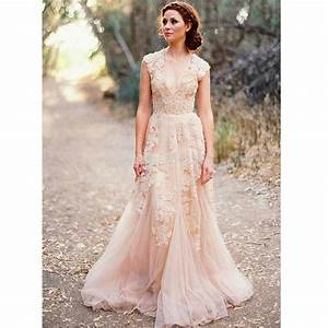 blush lace wedding dresses 2017 a line bridal gowns With blush wedding dresses 2017