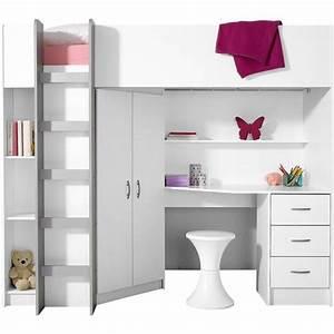 Armoire 3 Suisses : lit mezzanine avec plan de travail armoire lit enfant 3 suisses ~ Teatrodelosmanantiales.com Idées de Décoration